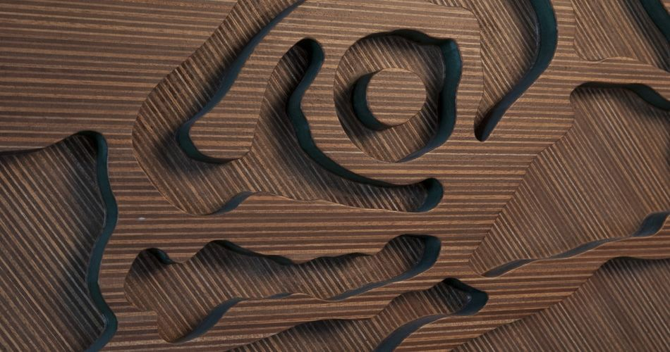 Plexwood® Annebel Noltes wooden cnc cut wall object from ocoumé reface plywood surface veneer and green mdf