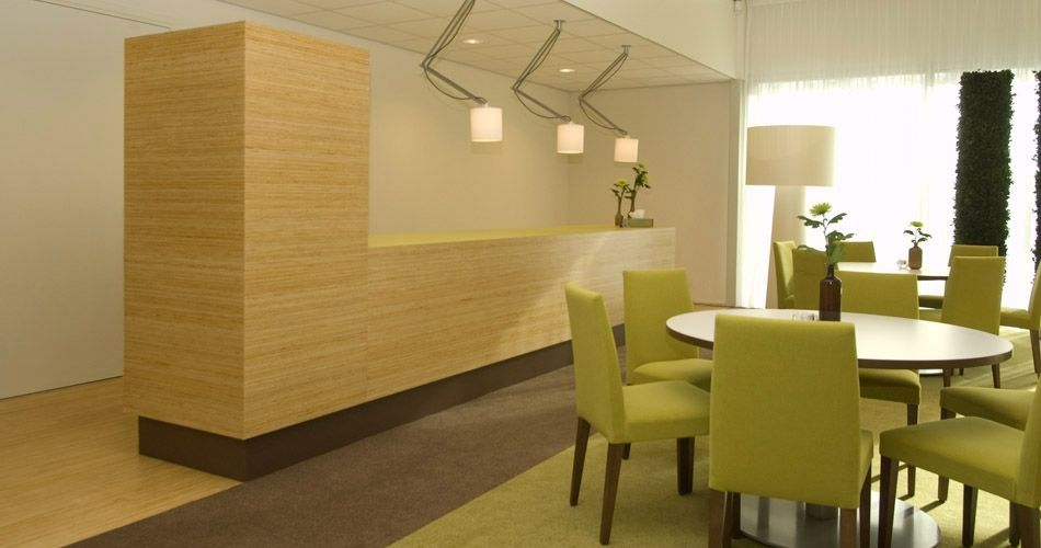 Plexwood® Kranenburg mortuary waiting room floor with reception storage cabinet in pine smart composite end-ply