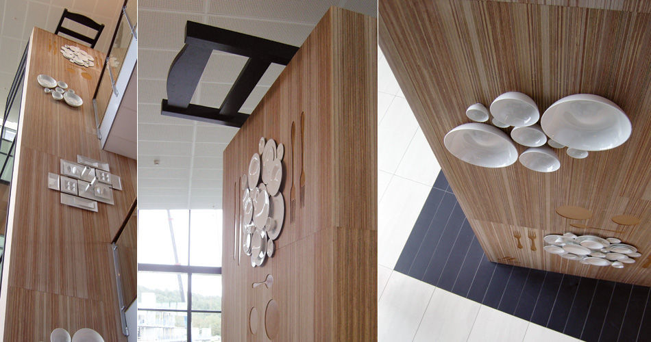 Plexwood® Måltidets Hus, Centre for Food Development cnc routed elevator feature wall in meranti