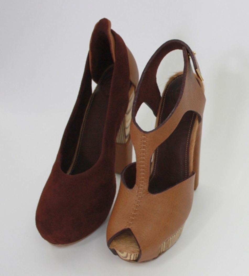 Plexwood® Molly Pryke fabulous reverse birch scrap plywood high heel one of a kind designer shoes