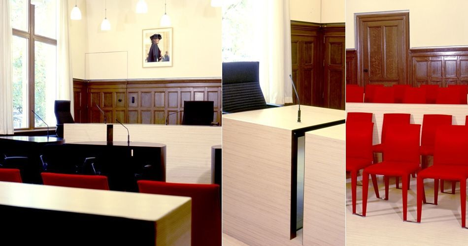 Plexwood® Nijmegen Court of Justice modern chic custom woodwork parquet flooring, wall partitioning, desks and bench