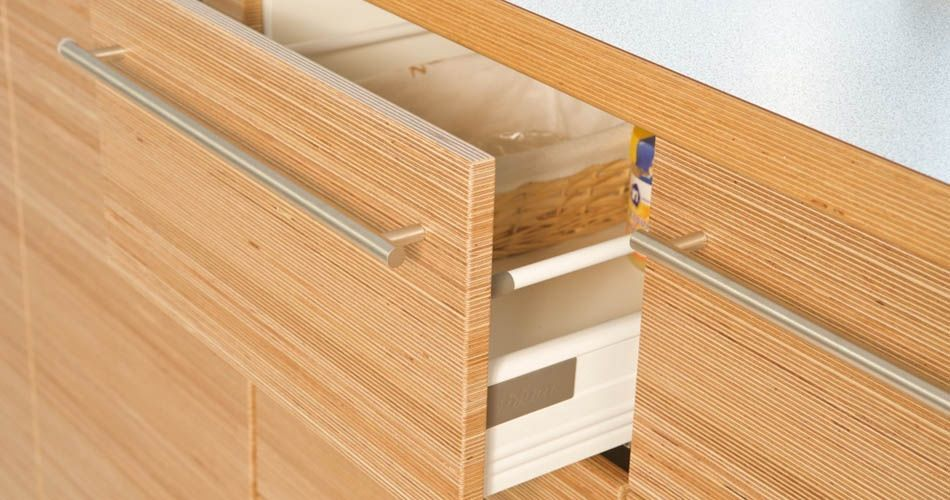 Plexwood® Dining area and kitchen reface project drawer detail with sustainable birch plywood veneer panels