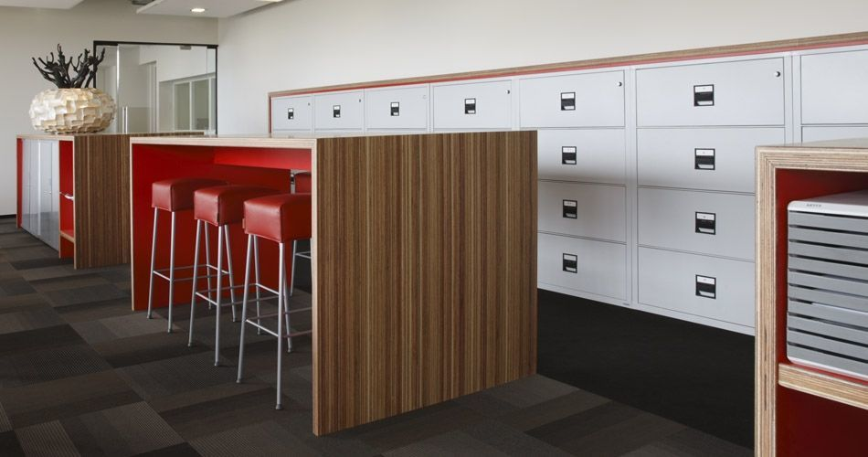 Plexwood® Rutges office table and cabinet carcase in meranti laminated plywood veneer panels