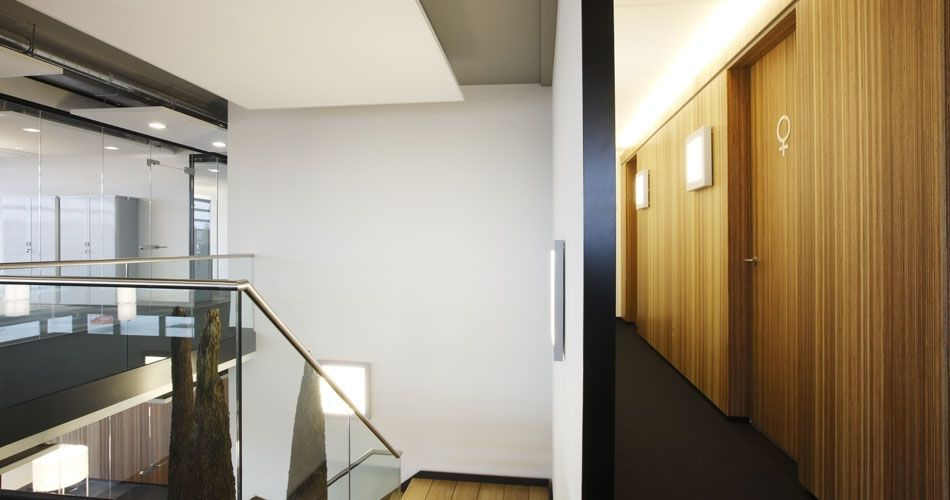 Plexwood® Rutges hallway wall with integrated doors for a sustainable office concept in laminated meranti plywood
