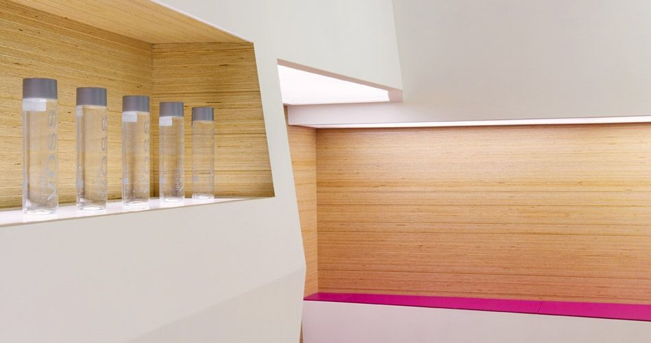Plexwood® SoSushi detail of wall coverings with industrial panels with birch veneer of plywood edges