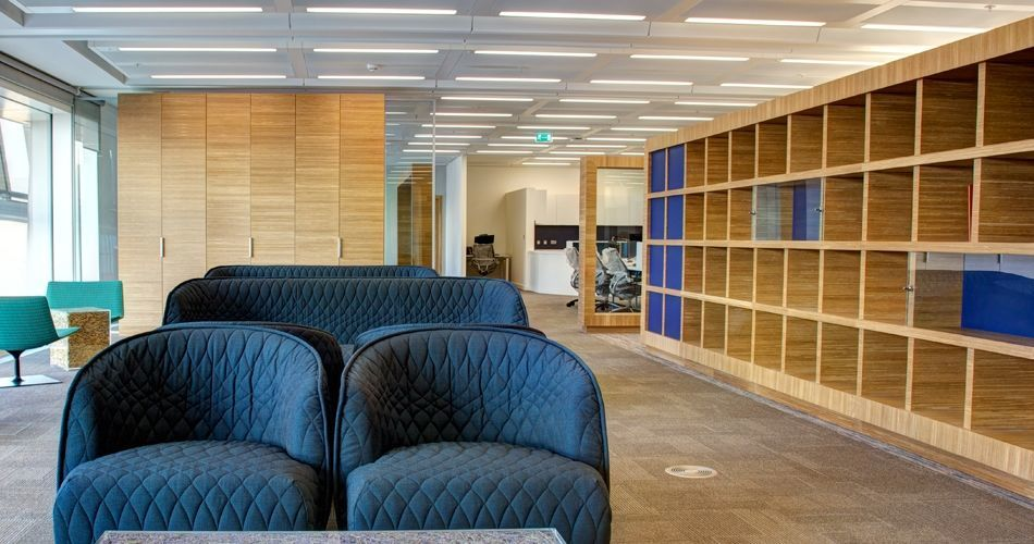 Plexwood® Co-op Group headquarters open cabinet and storage cabinet in oak from well managed source