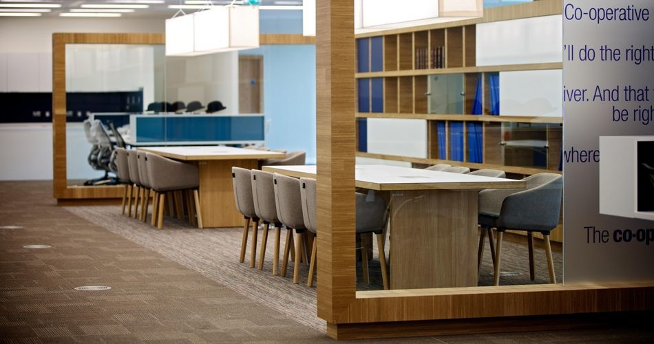 Plexwood® Co-op Group BREEAM natural green office architecture in oak eco wood