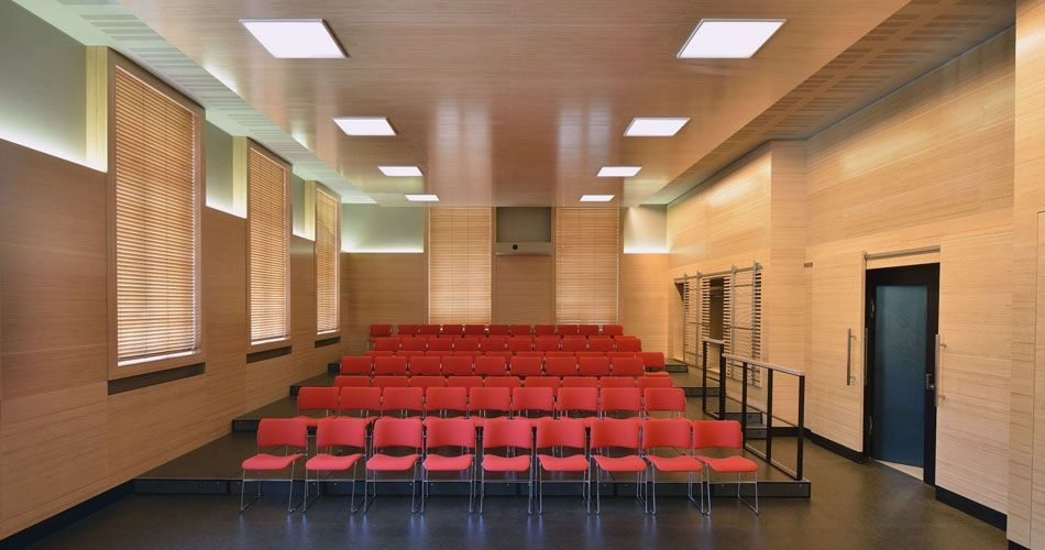 Plexwood® WBG Erfurt natural conference hall interior wellness application with beech from well managed forests