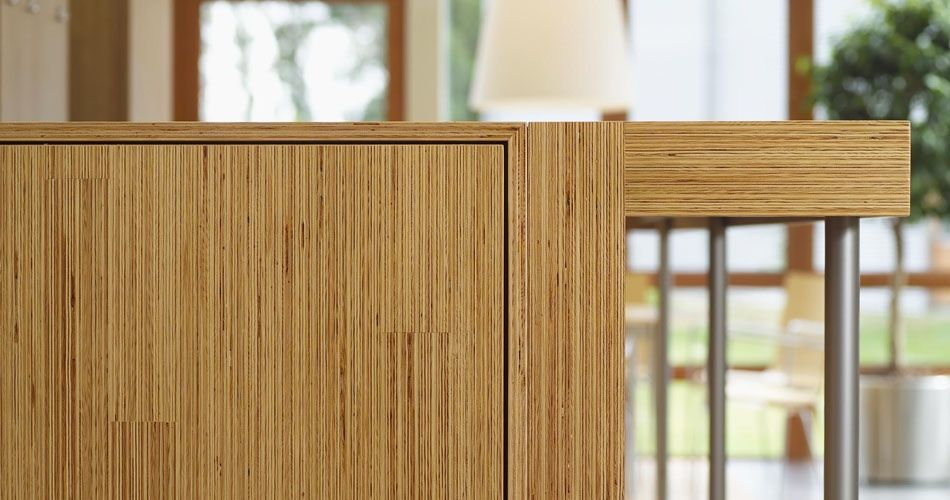 Plexwood® SHR cabinet close-up in natural pine sandwich composite plywood panels